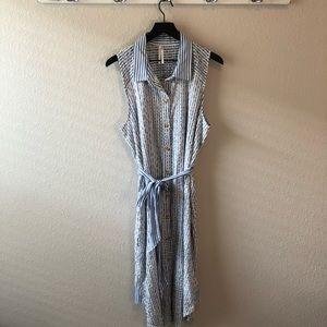 Anthropologie Dresses - By Anthropologie Blue White Striped Eyelet Dress